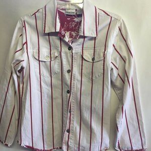 Chico's Button Up Shirt White Red Striped L